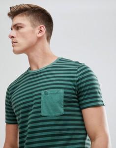 Зеленая футболка в полоску с карманом Abercrombie & Fitch - Зеленый
