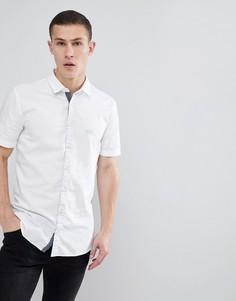 Белая оксфордская рубашка узкого кроя с короткими рукавами BOSS - Белый