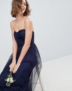 Платье-бандо макси из тюля ASOS DESIGN - Темно-синий