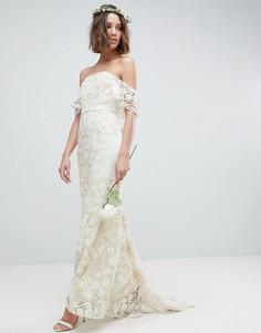 Платье-бандо макси с кружевом ASOS EDITION - Белый