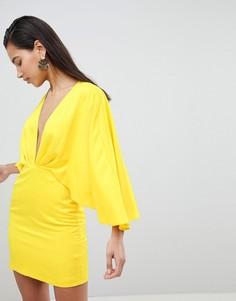 Атласное платье мини с глубоким вырезом и рукавами кимоно ASOS - Желтый