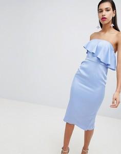 Платье миди бандо с оборкой на лифе ASOS - Синий