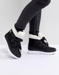 Черные водонепроницаемые ботинки на плоской подошве Sorel - Черный