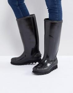 Черные высокие блестящие резиновые сапоги Sorel Joan Rain - Бежевый
