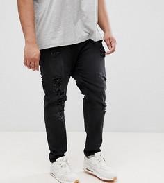 Черные суженные книзу джинсы из денима плотностью 12.5 унций с рваной отделкой ASOS PLUS - Черный
