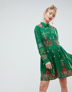 Короткое приталенное платье-рубашка с вышитым ацтекским узором ASOS PREMIUM - Зеленый