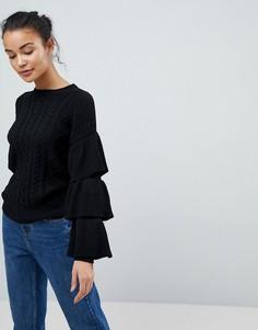 Джемпер вязки косами с оборками на рукавах Fashion Union - Черный