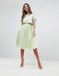 Платье миди из тюля с декоративной отделкой и укороченным топом ASOS - Зеленый