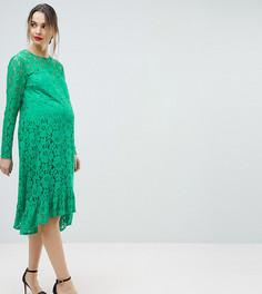 Свободное кружевное платье миди ASOS Maternity - Зеленый