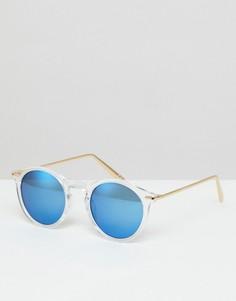 Круглые солнцезащитные очки с металлическими дужками и зеркальными стеклами ASOS - Очистить