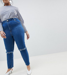 Джинсы слим в винтажном стиле с завышенной талией и рваной отделкой ASOS CURVE FARLEIGH - Синий