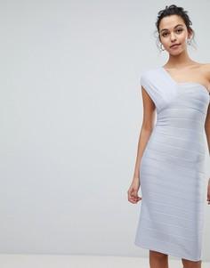 Облегающее платье миди на одно плечо ASOS - Синий
