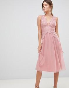 Сетчатое платье миди с кружевом на лифе и плиссировкой ASOS - Розовый