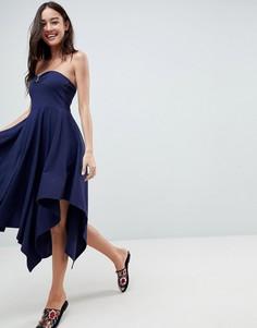 Хлопковое легкое платье бандо ASOS - Темно-синий