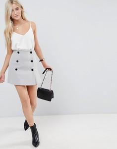 Двубортная мини-юбка ASOS - Серый