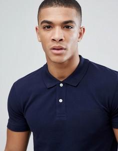 Темно-синяя футболка-поло из органического хлопка Esprit - Темно-синий
