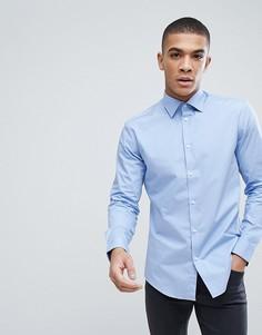 Голубая облегающая рубашка из хлопкового поплина Esprit - Синий