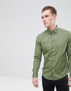 Приталенная рубашка из хлопкового поплина Esprit - Зеленый