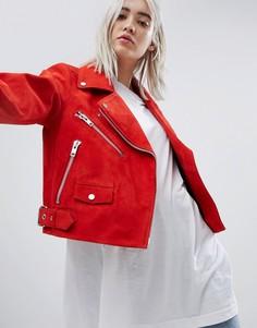 Замшевая байкерская куртка Weekday - Красный