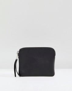 Кожаный бумажник на молнии Weekday - Черный
