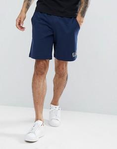 Темно-синие трикотажные шорты с небольшим логотипом EA7 - Темно-синий