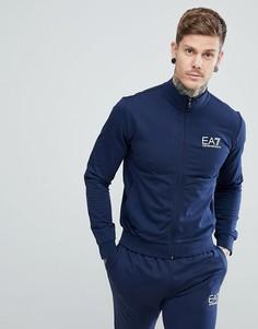 Темно-синий свитшот на молнии с логотипом EA7 - Темно-синий