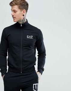 Черный свитшот на молнии с логотипом EA7 - Черный