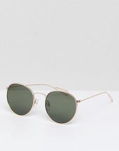 Солнцезащитные очки с золотистой оправой и зелеными стелами Weekday - Золотой
