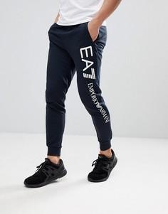Темно-синие джоггеры узкого кроя с логотипом сбоку EA7 - Темно-синий