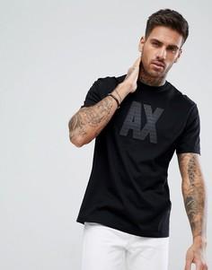 Черная футболка с прорезиненным логотипом Armani Exchange - Черный