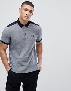 Облегающая меланжевая футболка-поло с окантовкой Armani Exchange - Темно-синий