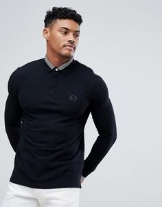 Черное узкое поло с длинными рукавами и логотипом Armani Exchange - Черный