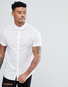 Белая узкая хлопковая рубашка с короткими рукавами Armani Exchange - Белый