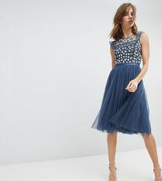 Платье миди с вышивкой и юбкой из тюля Needle & Thread - Синий