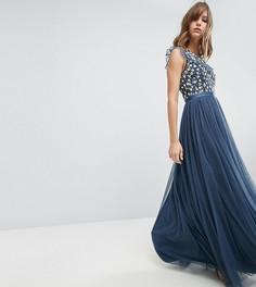 Платье макси с вышивкой и юбкой из тюля Needle & Thread - Синий
