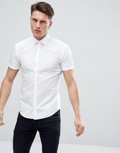 Белая поплиновая рубашка с короткими рукавами HUGO - Белый