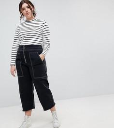 Черные широкие джинсы в стиле милитари с большими карманами и контрастными строчками ASOS CURVE - Черный