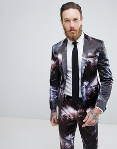 Сатиновый приталенный пиджак с принтом ASOS - Черный