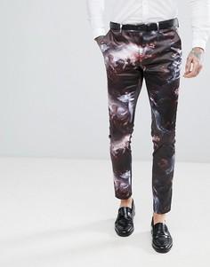 Сатиновые брюки скинни с принтом ASOS - Черный