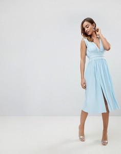 Платье миди с кружевными вставками и плиссировкой ASOS Premium - Синий
