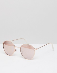 Круглые солнцезащитные очки в металлической оправе New Look - Серебряный