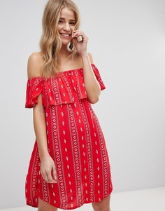 Пляжное платье с широким вырезом и ацтекским принтом New Look - Красный