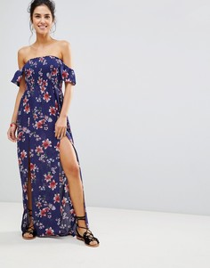 Пляжное платье макси с присборенным лифом New Look - Темно-синий