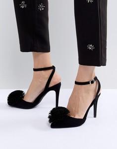 Туфли-лодочки с заостренным носком и помпоном New Look - Черный