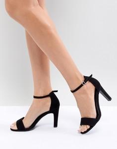 Босоножки на каблуке из искусственной замши New Look - Черный