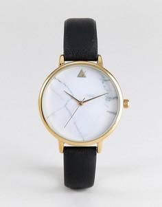 Часы с мраморным принтом на циферблате и черным ремешком ASOS - Золотой