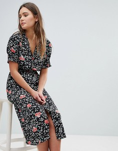 Платье миди с цветочным принтом и присборенными рукавами Influence - Черный