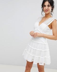 Кружевное ярусное платье мини Forever New - Белый