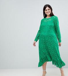 Кружевное свободное платье миди ASOS CURVE - Зеленый