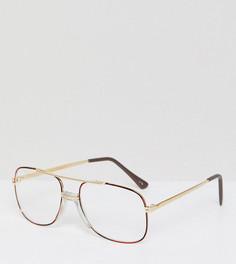 Квадратные очки в золотистой оправе с прозрачными стеклами Reclaimed Vintage Inspired эксклюзивно для ASOS - Золотой